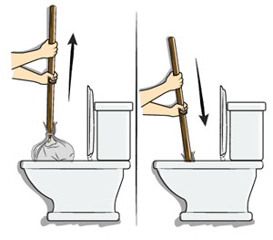 Force the mop down the toilet